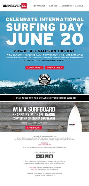 Shop Quiksilver and Roxy on International Surfing Day and do good while looking good!